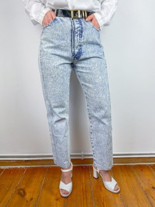 Jeansy vintage marmurki Cool Blues lata 80. acid washed jeans